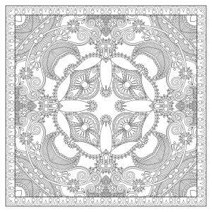Mandala carré et très fin