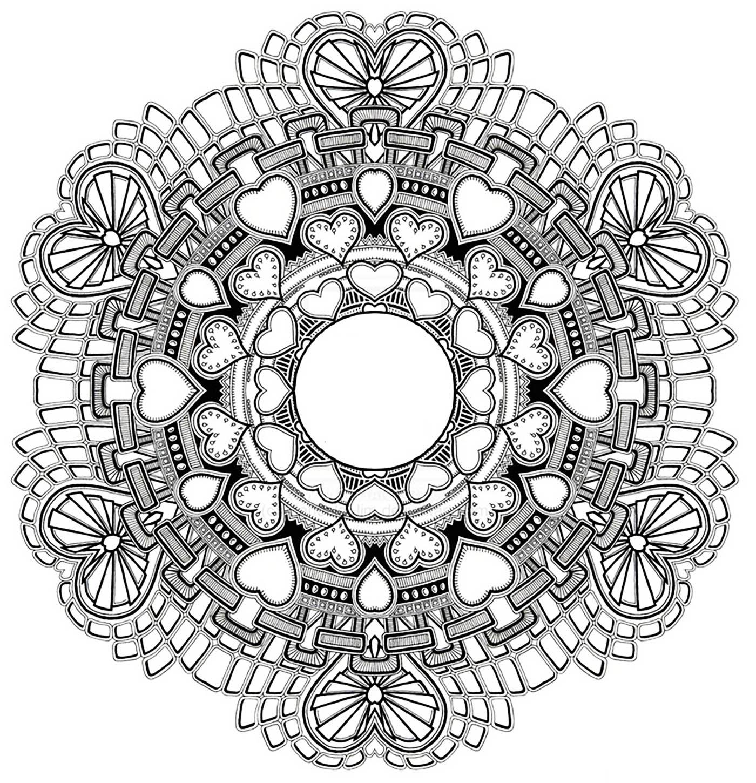 Mandala gratuit coeurs et amour mandalas zen anti - Mandala amour ...