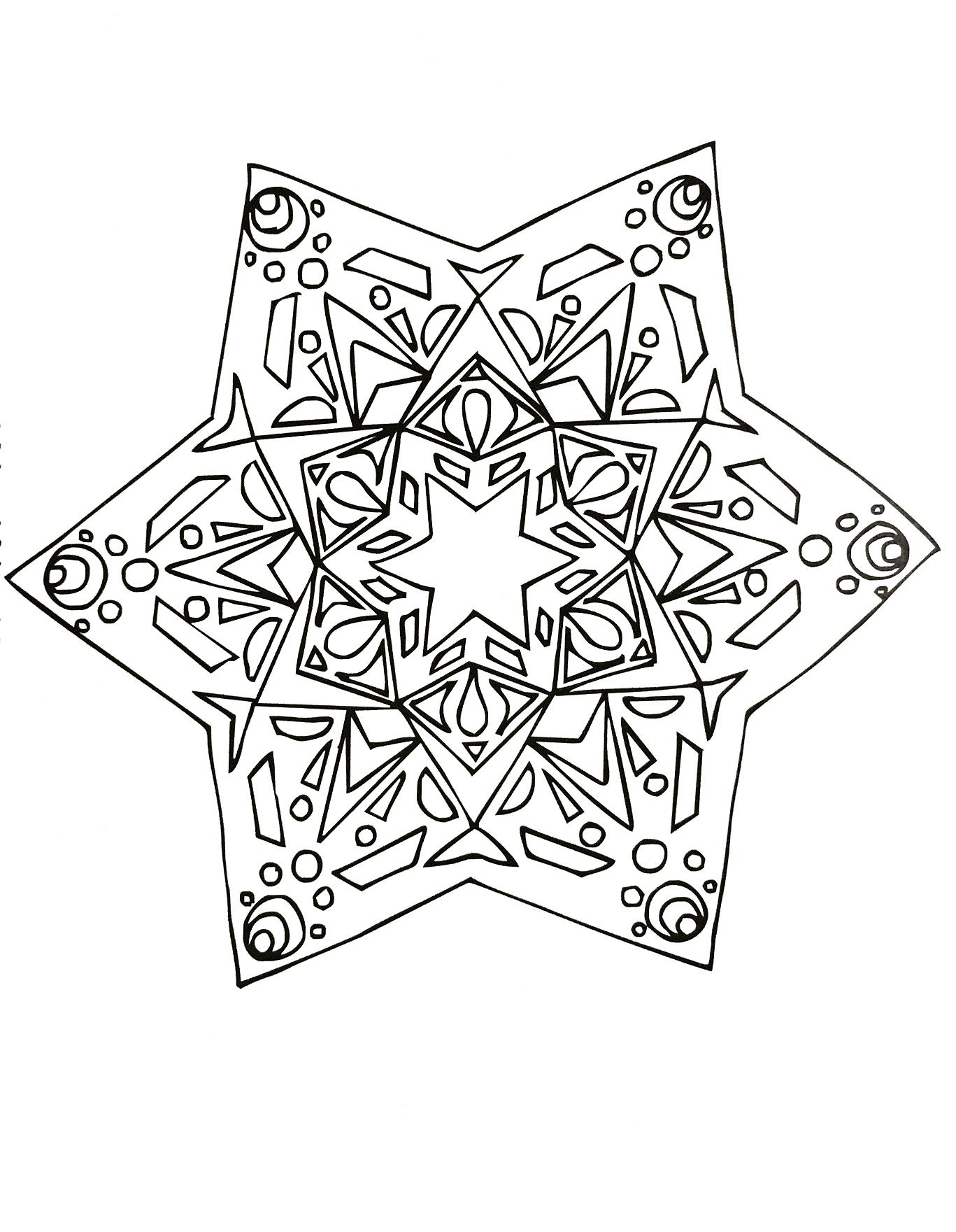 Coloriage De Mandala Etoile.Mandala Dessine A La Main En Forme D Etoile Mandalas Zen Anti