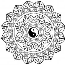 coloriage adulte mandala yin yang - Dessin De Mandala