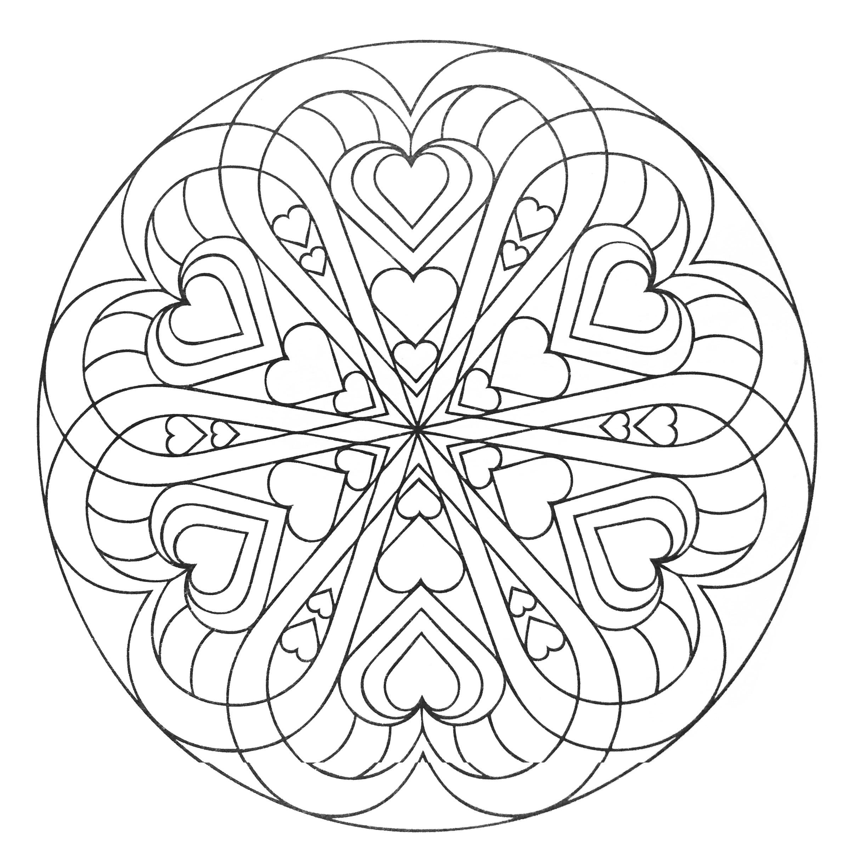 Mandala a colorier avec coeurs mandalas zen anti - Jeux anti stress gratuit ...