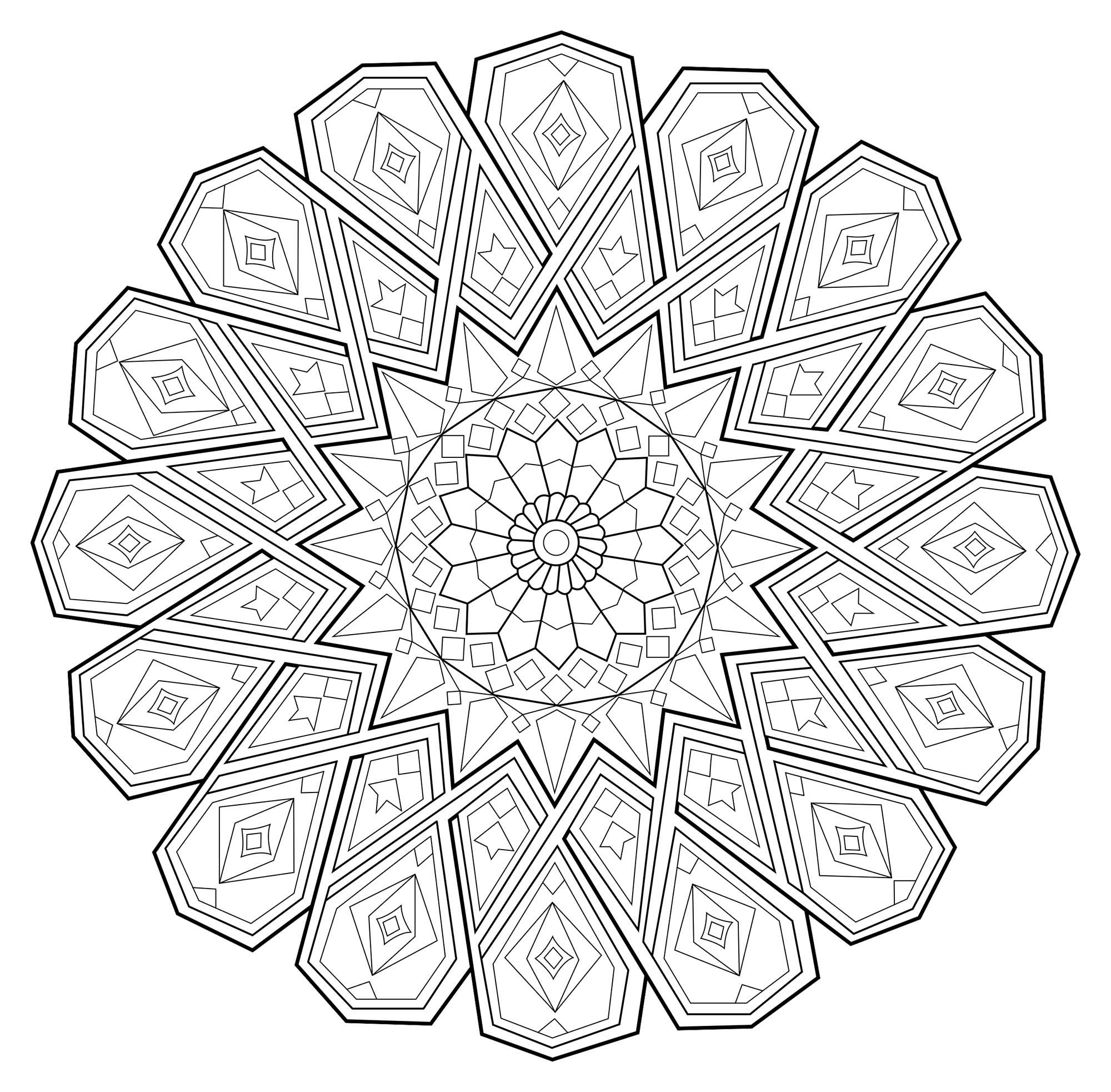 Coloriage Mandala Couleur.Mandala Abstrait Aux Traits Fins Mandalas Zen Anti Stress 100