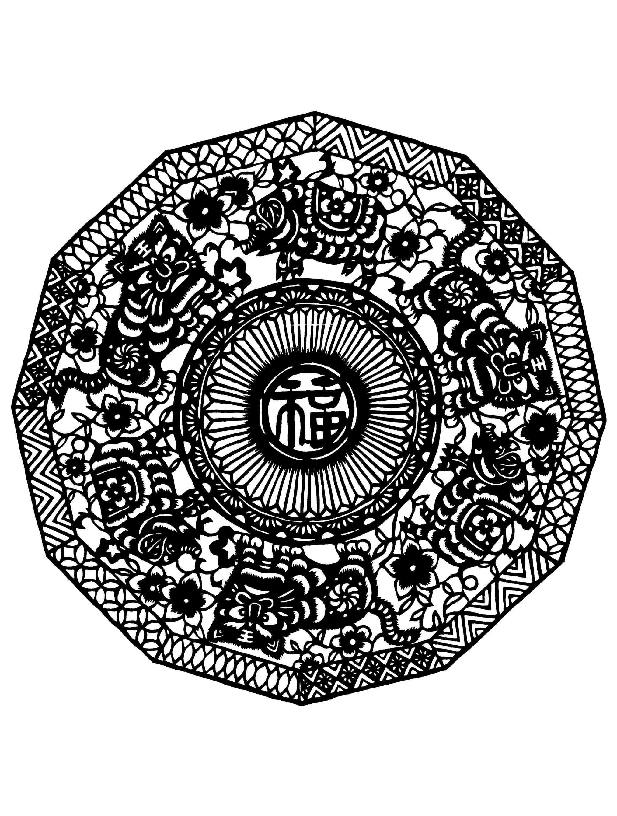 Quand le coloriage est réellement une des pratiques principales de l'Art Thérapie ... Cela donne ce coloriage de Mandala très harmonieux et délicat aux lignes sombres et épaisses. Nous vous conseillons d'utiliser des couleurs claires.