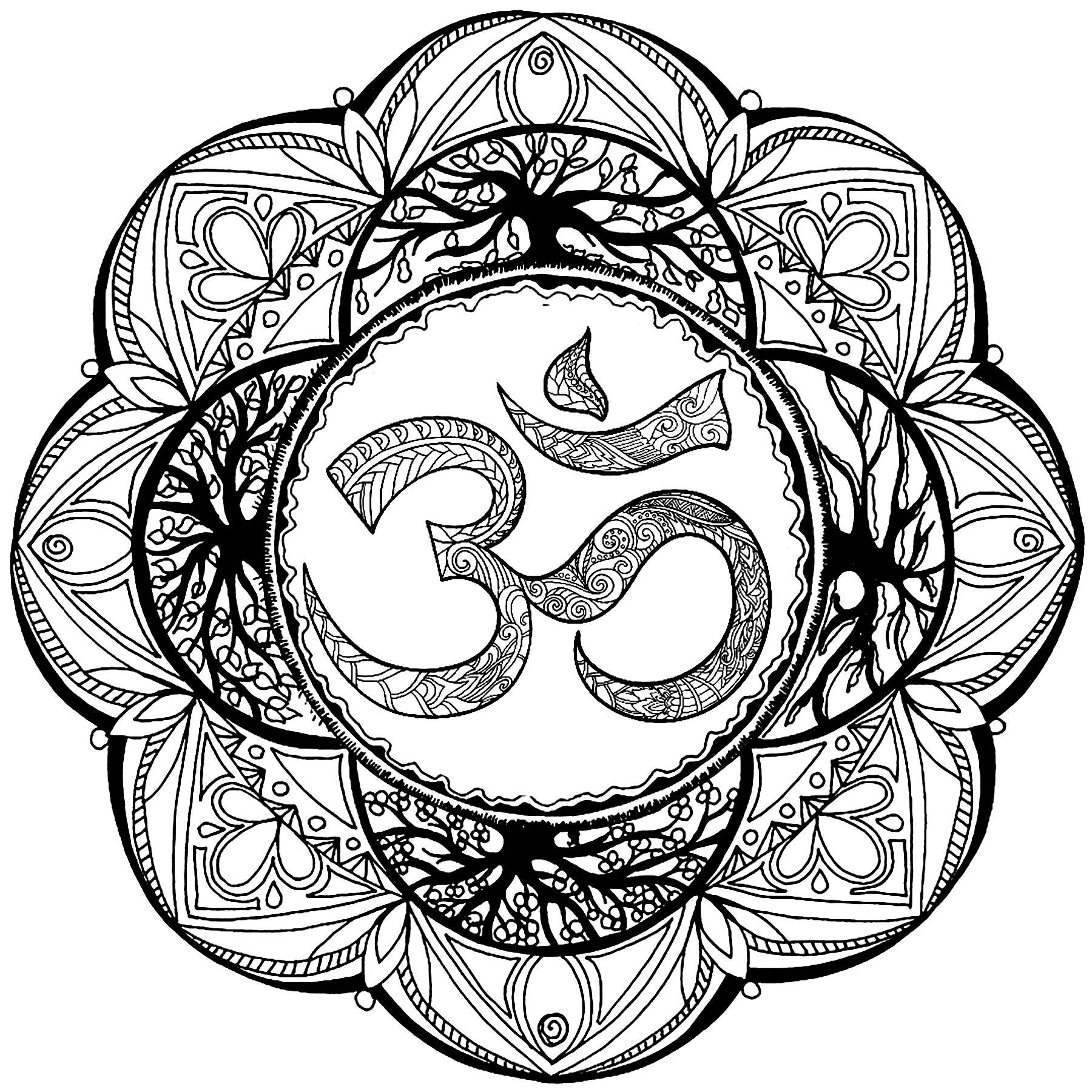 Mandala avec nombreux détails et le symbole Om en son centre