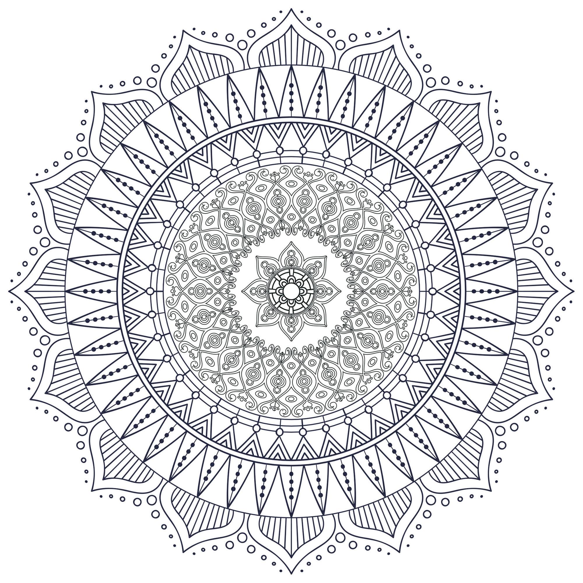 Offrez-vous une parenthèse de zénitude avec ce superbe Mandala à colorier sans plus attendre, avec les couleurs qui vous plaisent le plus. Il est original car il comporte en son centre un mini Mandala !