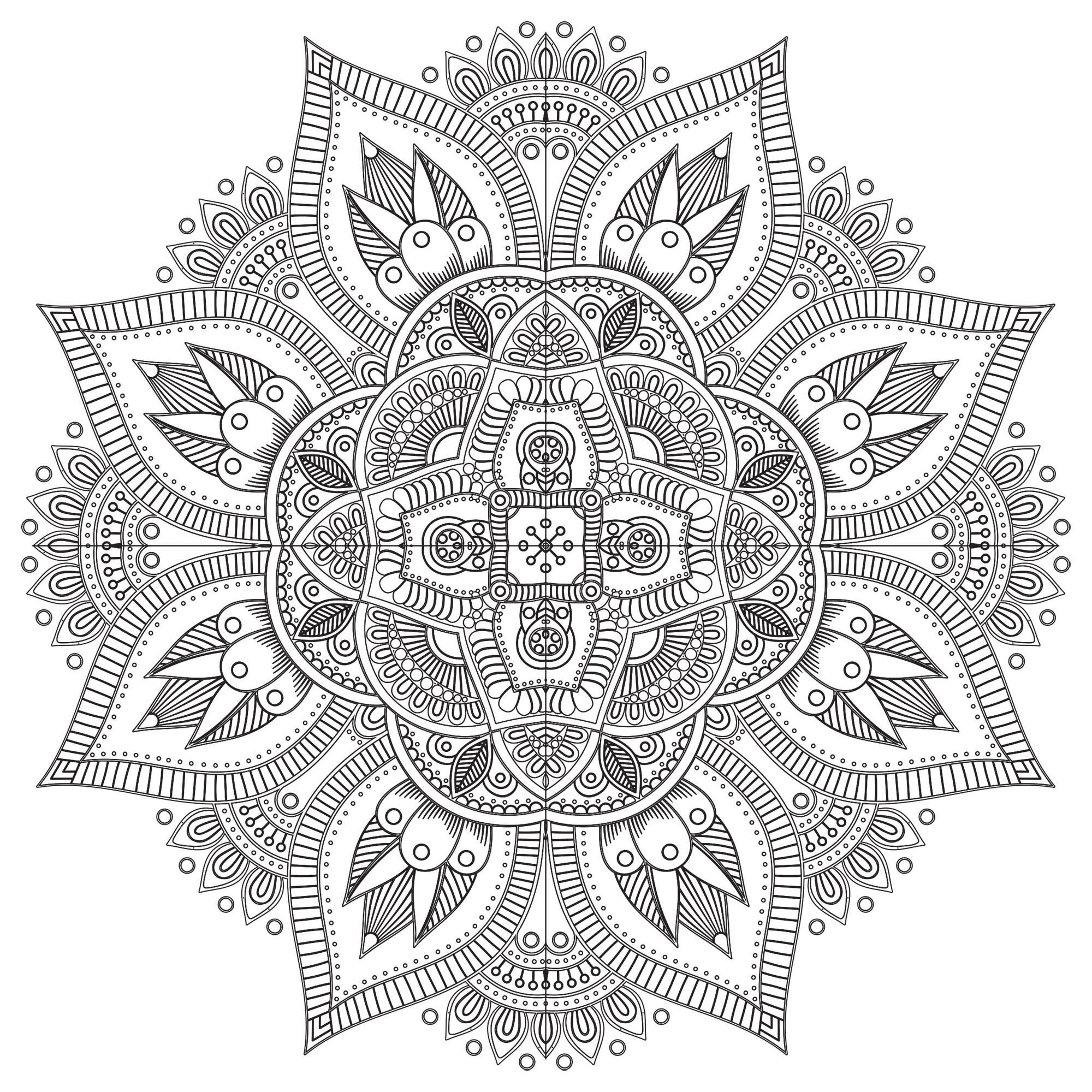 Quand le coloriage devient réellement de l'Art Thérapie ... C'est le cas avec ce coloriage de Mandala très harmonieux et délicat, symbolisant, si vous souhaitez le voir ainsi, une jolie fleur pleine de vie.