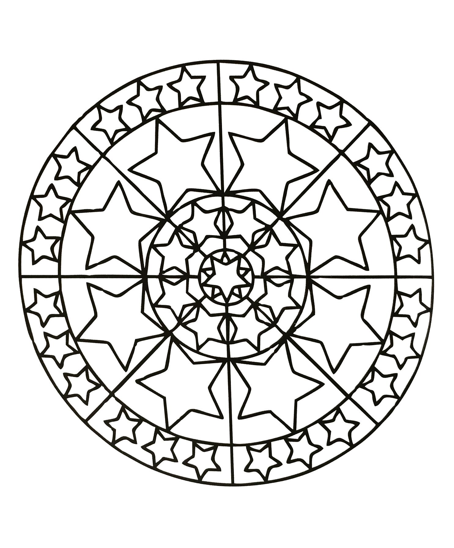 Coloriage De Mandala Etoile.Mandala Avec De Belles Etoiles Mandalas Zen Anti Stress 100