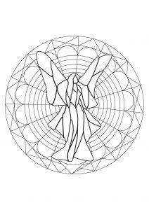 Mandala fée rêveuse et géométrique
