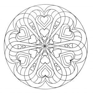Joli Mandala avec des coeurs entremêlés