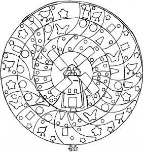 Mandala dessiné à la main avec un moulin, par Domandala