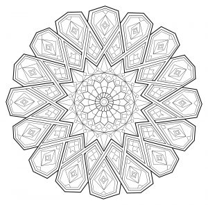 Mandala abstrait aux traits fins