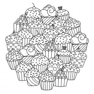 Cupcakes dans un Mandala