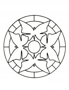 Mandala simple avec des formes ressemblant à des papillons