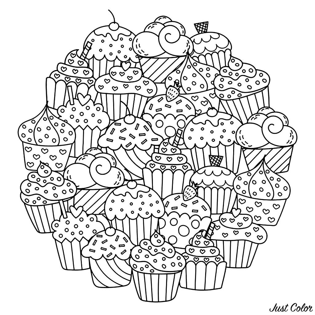 Coloriez ces délicieux cupcakes dans un superbe Mandala. Ajoutez vos couleurs les plus variées, pour créer une magnifique composition ...